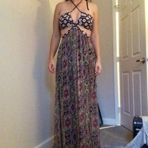 Tobi mixed print floral maxi dress